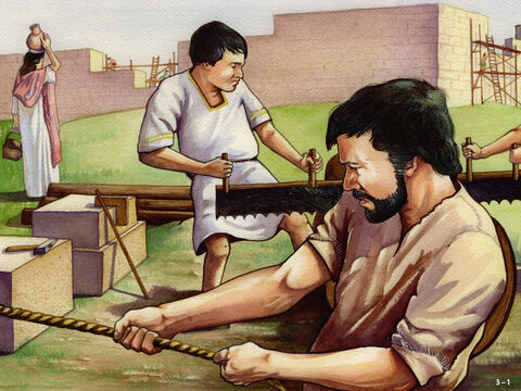 Nehemiah had made a plan for the rebuilding of the walls. Altogether there were 42 groups of workers - some were temple priests, others were goldsmiths, or perfume makers, or merchants or servants. <br/>People worked in groups on the sections of the wall nearest their homes and those from outside the city worked on the remaining sections. Everyone was involved and Nehemiah encouraged them. He mentions, for example, a man called Baruch who worked very hard (Nehemiah 3:20) and the people of Tekoa who mended two sections of the wall even though their leaders didn't want them to do any work (Nehemiah 3:5,27). – Slide 1