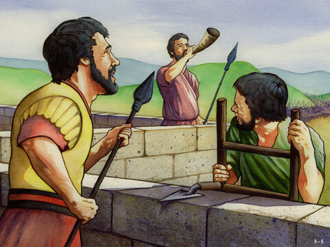 From that day on Nehemiah divided the people into two groups, one worked on the wall while the other stood guard carrying weapons. Nehemiah had a trumpeter near him at all times ready to sound the battle alarm. He encouraged the builders by saying, 'Our God will fight for us.' The work continued from early in the morning until late into the evening. – Slide 5