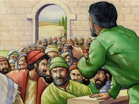 Nehemiah called the people together and addressed the greedy Jews. He pointed out he had 150 people working for him who were lending money and grain but he was not charging interest. <br/>'What you are doing is not right and against God's laws,' he told them. 'You must stop charging interest! Give back the fields, vineyards, olive groves and houses you have taken as well as the extra money you have charged.' The rich Jews were ashamed and agreed. <br/>Nehemiah shook the long cloak he was wearing and warned. 'God will shake out anyone from their home and property who does not keep their promise to repay. – Slide 2