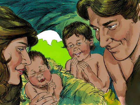 Adam and Eve had a baby boy who they named Cain. Later, Eve gave birth to another son who was named Abel. – Slide 1