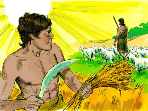 One day Cain suggested to his brother, 'Let's go out into the fields.' – Slide 6