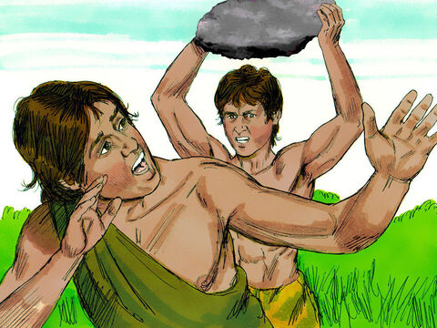 While they were in the field, Cain attacked his brother, Abel, and killed him. – Slide 7