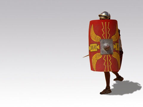 Roman soldier with protective shield. – Slide 9