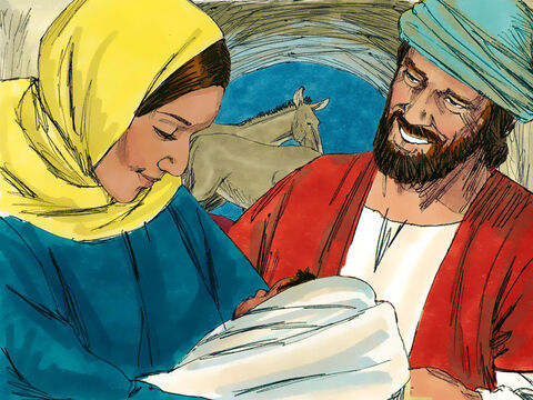 That night Mary gave birth to her first born son. She wrapped him in cloths and placed him in a manger. – Slide 15