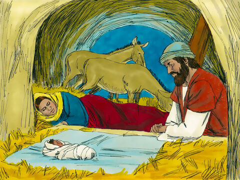 Mary gave birth to Jesus in the stable of an inn and wrapped Him in swaddling clothes and laid Him in a manger. – Slide 1