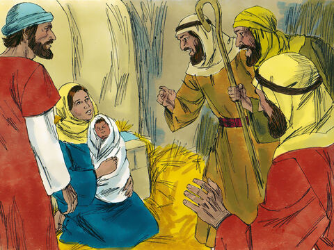They ran to Bethlehem and found Mary and Joseph. And there was the baby, lying in the manger.  – Slide 7