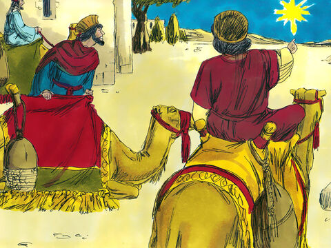 In a land to the East, Wise Men saw a new large bright star in the night sky. It was a sign to them that a new King had been born. They packed gifts for the new King and set off to find Him. – Slide 1