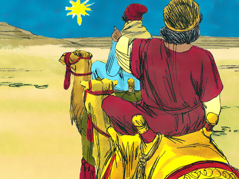 They followed the new bright star for many weeks and it led them towards the land of the Jews and the city of Jerusalem where King Herod lived. – Slide 2