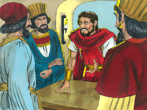 Herod had a secret meeting with the Wise Men to find out what time the star had been seen. He sent them to Bethlehem and said, 'Go and find the young Child. When you find Him, let me know so I can go and worship Him also.' But secretly Herod was planning to kill the new King. – Slide 6