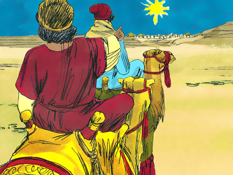 The Wise Men set off and were overjoyed when they saw the star. It led them to Bethlehem and to the place where Mary, Joseph and the young child Jesus were staying. – Slide 7