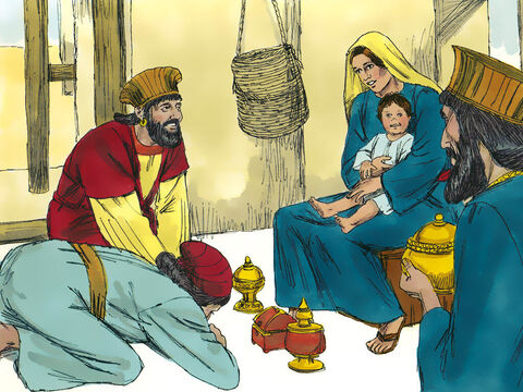 The Wise Men bowed before Jesus and worshiped Him. They opened their bags of riches and gave Him gifts of gold and perfume and spices (frankincense and myrrh). – Slide 8