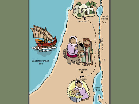 It was a long and tiring voyage, and Mary was soon to give birth to the baby. Day after day they walked on, until they finally arrived in Bethlehem. – Slide 4