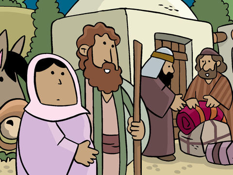 Mary gasped, 'Joseph, I am so tired! Let's find a place to stay.'<br/>'Yes, Mary, it has been a long journey. I'll ask if there is room here,' Joseph replied. – Slide 5