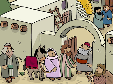They went to an inn and Joseph asked, 'We have travelled a long way, and my wife is very tired. Do you have a place we can stay?' <br/>'I am so sorry!' The Innkeeper replied. 'Bethlehem is very crowded these days. So many people have come to register that I have no room left.' – Slide 6