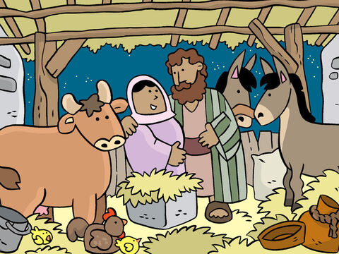 Joseph made Mary as comfortable as he could. The baby was due to be born at any moment. – Slide 8