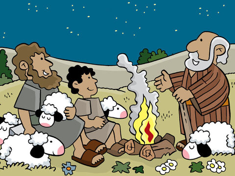 That same night, not too far away from the town, shepherds were watching their sheep on the hills. – Slide 10