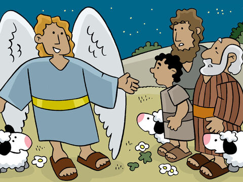 Suddenly, an angel appeared. The shepherds were afraid. <br/>'Don't be afraid!' the Angel said. 'I bring you good news.' – Slide 11