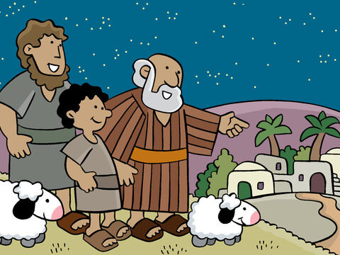 The shepherds were excited and agreed, 'Let's go to Bethlehem to see the Baby.' – Slide 14