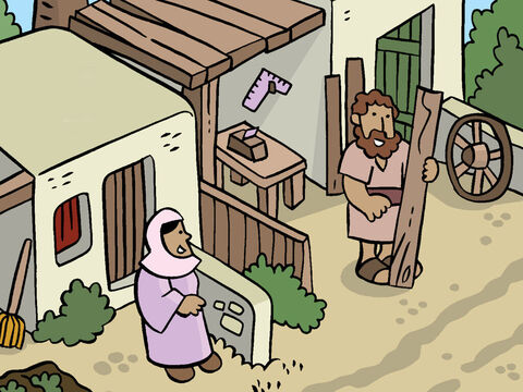 There lived a young woman named Mary, who was promised in marriage to a man named Joseph, who was a carpenter. – Slide 2