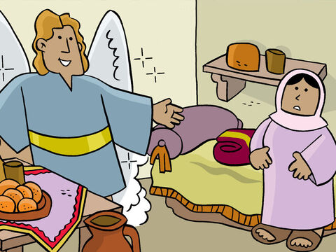 One day, while Mary was in her house, the angel Gabriel appeared to her. Gabriel had a special message from God. – Slide 3