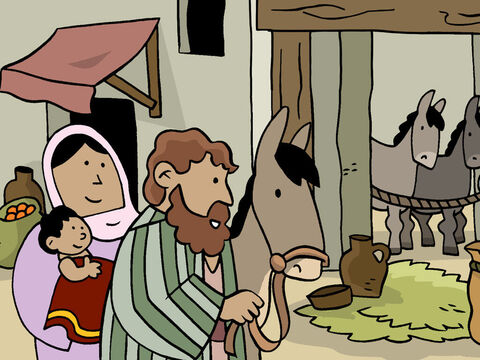 Around the same time, Joseph, Mary, and Baby Jesus arrived in Jerusalem. – Slide 5