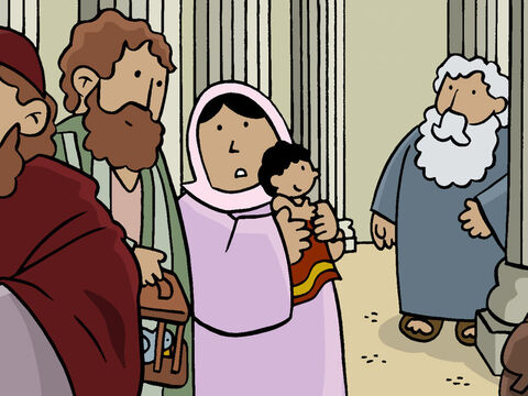 Just then, Simeon arrived at the temple and noticed a young couple holding a baby. At once Simeon knew this Baby was God's Son, the Saviour, that God had promised to send. – Slide 8