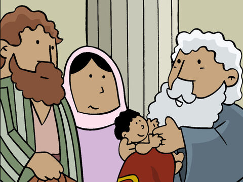 Simeon went up to Mary and Joseph and asked to hold the Baby to bless it. – Slide 9