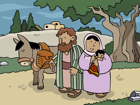Then Mary and Joseph returned home to look after Baby Jesus – God's Son – the promised Saviour of the world. – Slide 14