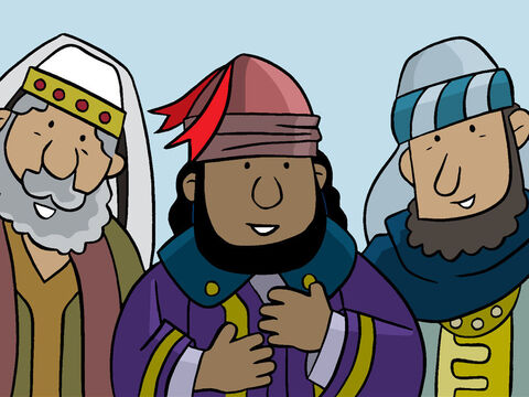 The men saw Jesus and exclaimed, 'We have found the newborn king!' – Slide 4