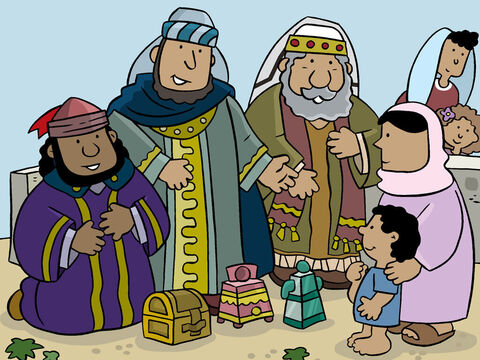 Then they offered Jesus gifts they had brought saying, 'We bring presents of gold, frankincense, and myrrh.' – Slide 5