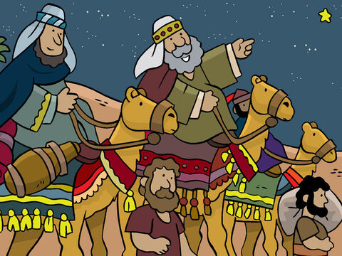 'So we decided to follow this star and after a very long trip we came to the land of Israel. We headed for Jerusalem as this is where we thought a new king would be.' – Slide 8