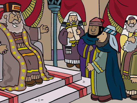 Herod called the Wise Men from the East to his palace. 'You must look for this child in Bethlehem. Once you find Him, let me know where He is so that I can also go to worship Him.' – Slide 13