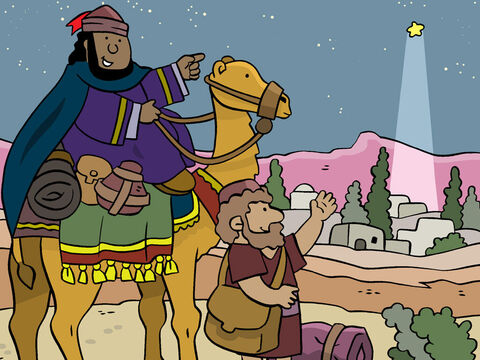 Following Herod's instructions, the Wise Men set out for Bethlehem, with the star once again guiding them. <br/>'Look the star is leading us to a house in Bethlehem.' – Slide 15