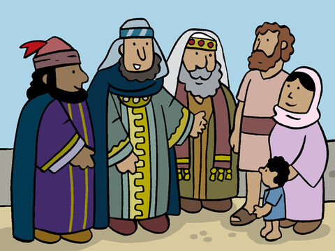The wise men told Mary and Joseph, 'That how we were led to you and found Jesus. He is the new-born King!' <br/>Then they explained, 'We'll leave tomorrow morning and tell king Herod the good news.' – Slide 16