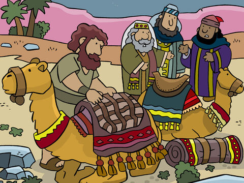 But in the morning, as they were preparing to depart, one of them said, 'I had a dream in which God warned us not to return to Jerusalem. Herod is jealous and wants to kill the child!' – Slide 17