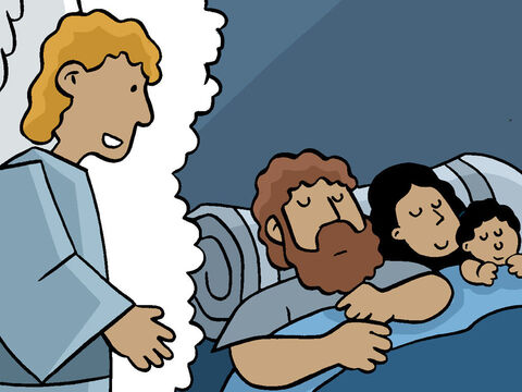 But an angel appeared to Joseph to warn him. <br/>'Get up and flee with the boy and his mother to Egypt. Stay there until I say it's time to go.' – Slide 20