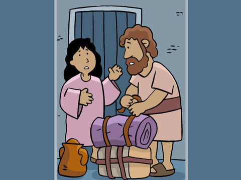 'Mary, we must leave right away!' Joseph told Mary. 'An angel has warned me in a dream that Jesus is in great danger.' – Slide 21