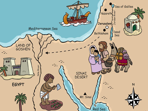 So that night Joseph and Mary headed on a long trip toward Egypt where God would keep them safe and Herod could not harm Jesus. <br/>Two years later, when King Herod died, God told Joseph it was safe to return and the young family headed back to their home town of Nazareth. – Slide 23