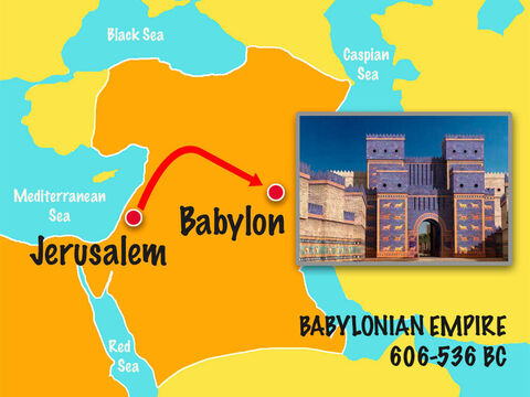 When the Babylonian army conquered Jerusalem they took captives and brought them back to Babylon. One of those chosen to serve King Nebuchadnezzar was a young man called Daniel. – Slide 1