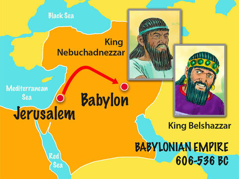 King Nebuchadnezzar had taken Jewish captives back to Babylon. Among them was a young man called Daniel who rose up to be the chief of all the King's wise men. When Daniel was older, King Nebuchadnezzar died and was succeeded by King Belshazzar. – Slide 1