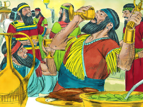 So the king and his nobles, his wives, and his harem drank wine from cups taken from God's temple. While they drank from them they praised their idols made of gold, silver, bronze, iron, wood, and stone. – Slide 4