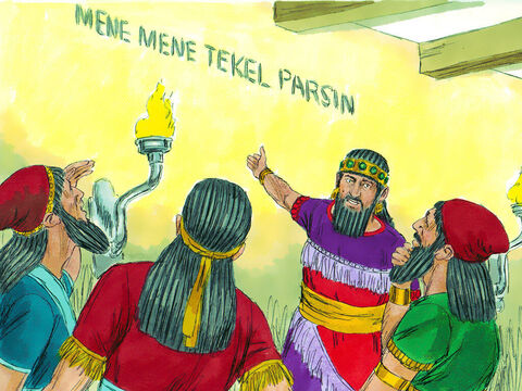 The king shouted for the enchanters, astrologers,and fortune-tellers to be brought to him.'Whoever can read this writing and tell me what it means will be dressed in purple robes of royal honor and will have a gold chain placed around his neck. He will become the third highest ruler in the kingdom!' – Slide 6