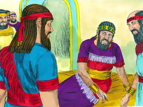 Daniel was brought in before the king. 'I am told that you can give interpretations and solve difficult problems,' the king told him. 'If you can read these words and tell me their meaning, you will be clothed in purple robes of royal honor, and you will have a gold chain placed around your neck. You will become the third highest ruler in the kingdom.' – Slide 9