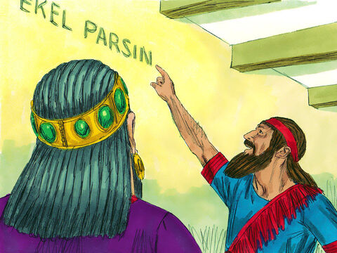 """'Menemeans """"numbered"""". God has numbered the days of your reign and has brought it to an end.'Tekelmeans """"weighed"""". You have been weighed on the balances and have not measured up.'Parsi""""means """"divided"""". Your kingdom has been divided and given to the Medes and Persians.' – Slide 12"""