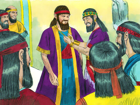 At Belshazzar's command, Daniel was dressed in purple robes and a gold chain was hung around his neck. He was proclaimed the third highest ruler in the kingdom. – Slide 13