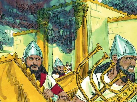 The Lord allowed the Babylonians to take the city. The victorious army took sacred objects from the Temple of God to take back to Babylon. – Slide 4