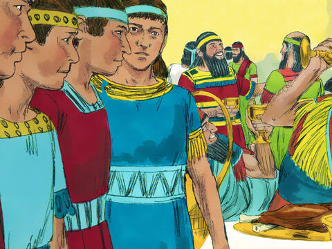 These four young Jewish men were to be trained for three years in the language and literature of Babylon. They would also be given food and wine from the King's own kitchens. Daniel knew the meat being offered was not prepared as God had set out in the laws of Moses. He did not want to become drunk either. – Slide 8