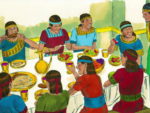 So for ten days Daniel and his three friends were fed vegetables and water while the others ate the King's food and drank wine. At the end of the ten days, Daniel and his three friends looked healthier and better nourished than the rest so they were allowed to continue on their diet. – Slide 10