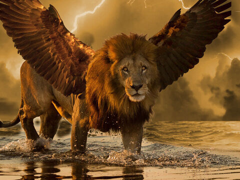 'The first was like a lion and had eagles' wings. Then as I looked its wings were plucked off, and it was lifted up from the ground and made to stand on two feet like a man, and the mind of a man was given to it.' – Slide 2