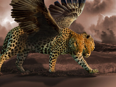 'After this I looked, and behold, another, like a leopard, with four wings of a bird on its back. And the beast had four heads, and dominion was given to it.' – Slide 4